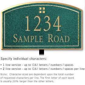 Salsbury 1420JGGL Signature Series Address Plaque