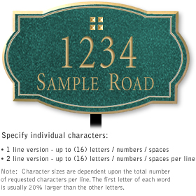 Salsbury 1441JGGL Signature Series Address Plaque