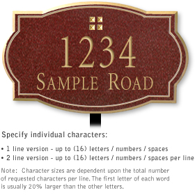 Salsbury 1441MGGL Signature Series Address Plaque