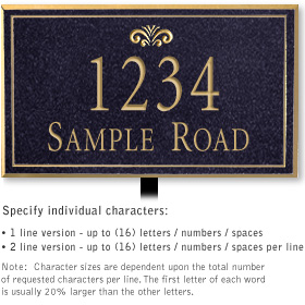Salsbury 1412BGFL Signature Series Address Plaque