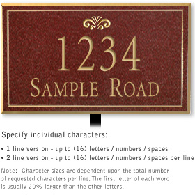 Salsbury 1412MGFL Signature Series Address Plaque