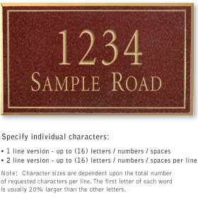 Salsbury 1412MGNS Signature Series Address Plaque
