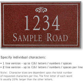 Salsbury 1412MSFS Signature Series Address Plaque