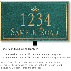 Salsbury 1410JGIL Signature Series Address Plaque