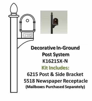 Single Post Mount System Decorative In-ground with Newspaper Receptacle (Mailboxes purchased separately)