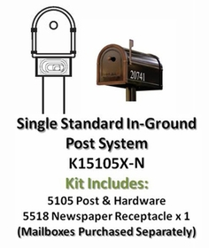 Single Post Mount System Standard In-Ground with Newspaper Receptacle (Mailboxes purchased separately)