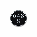 Small Round Address Plaque Copper Black