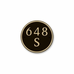 Small Round Address Plaque Gold Black