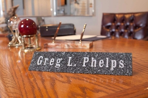 Solid Granite Desk Plaque (Available in three different stone finishes: Polished Black, Green or Ash.)