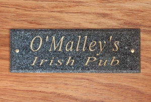 Solid Granite Door Plaque (Available in three different stone finishes: Polished Black, Green or Ash.)