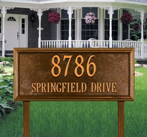 Whitehall Springfield Rectangle - Estate Lawn Address Sign - Two Line