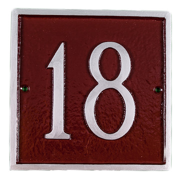 Square Address Plaques 1 Line Petite Wall Mount (2 Characters)