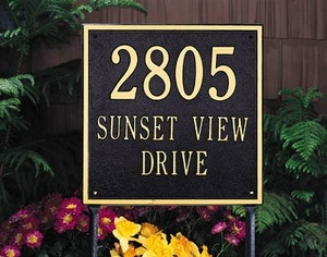 Whitehall Square Estate Two Line Lawn Address Sign