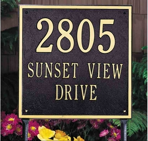 Whitehall Square Standard Three Line Lawn Address Sign