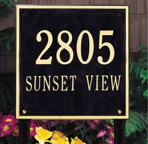 Square Standard Two Line Lawn Address Sign