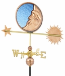 Stained Glass Moon Weathervane - Polished Copper
