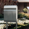 Stainless Steel Modern, Contemporary Antares Galaxy Mailbox and Mailbox Stand