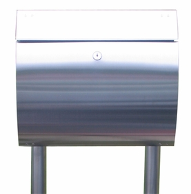 Stainless Steel Modern, Contemporary Curb Appeal Mailbox, Newspaper Holder and Mailbox Stand