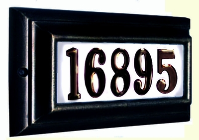 Edgewood Standard Lighted Address Plaque with Cast Aluminum Numbers - Black Frame