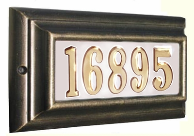 STANDARD Lighted Address Plaque French Bronze Frame