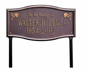 "Standard Size Alexandria ""In Memory of"" Wall or Lawn Plaque - (2 Lines)"