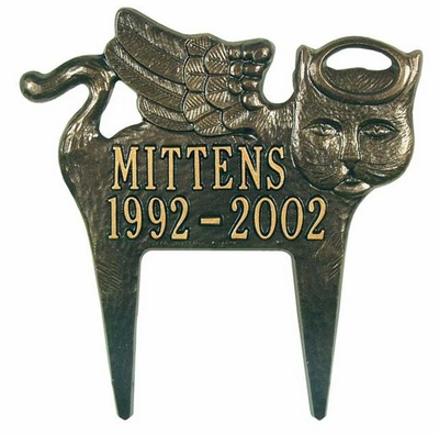 Whitehall Standard Size Angel-Cat Pet Memorial LAWN Plaque -(2 Lines)