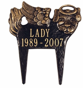 Whitehall Standard Size Angel-Dog Pet Memorial LAWN Plaque - (2 Lines)