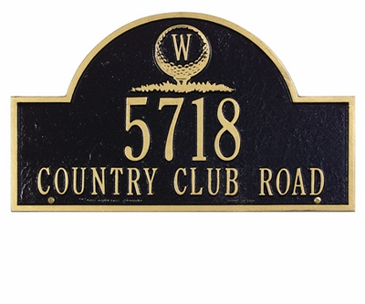 Whitehall Standard Size Golf Ball Arch Wall or Lawn Plaque - (2 Line + Monogram)