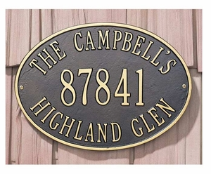 Whitehall Standard Size Hawthorne OVAL Wall or Lawn Plaque - (1, 2, or 3 Lines)