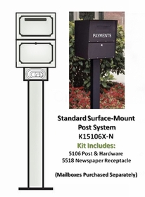 SINGLE Locking Curbside KIT Standard Surface Mount with Newspaper Receptacle (Mailboxes purchased separately)