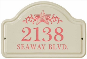 Whitehall Star Fish Ceramic Arch - Two Line Standard Wall Plaque - Coral