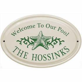 Whitehall Star Fish Ceramic Oval - Horizontal Standard Wall Plaque - One Line - Green