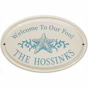 Whitehall Star Fish Ceramic Oval - Horizontal Standard Wall Plaque - One Line - Sea Blue