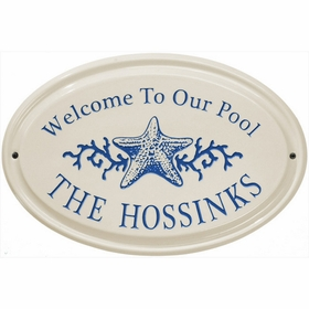 Whitehall Star Fish Ceramic Oval - Horizontal Standard Wall Plaque - One Line - Dark Blue