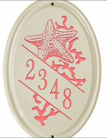 Whitehall Star Fish Ceramic Oval - Vertical Standard Wall Plaque - One Line