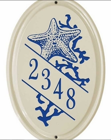 Whitehall Star Fish Ceramic Oval - Vertical Standard Wall Plaque - One Line - Dark Blue