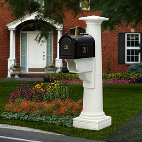 Statesville Mailbox Package with White Post