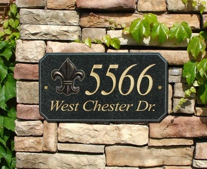 "StoneMetal ""FLEUR DE LIS LOGO"" Rectangle Solid Granite Address Plaque in Black Polished Color"