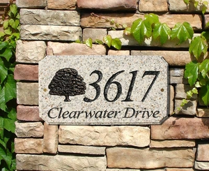 "StoneMetal ""OAK TREE LOGO"" Rectangle Solid Granite Address Plaque in Autumn Leaf Color"