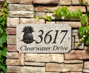 "StoneMetal ""PINEAPPLE LOGO"" Rectangle Solid Granite Address Plaque in Autumn Leaf Color"
