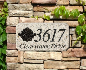 "StoneMetal ""SCROLL LOGO"" Rectangle Solid Granite Address Plaque in Autumn Leaf Color"