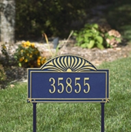 Whitehall Sunburst - One Line Standard Lawn Address Sign