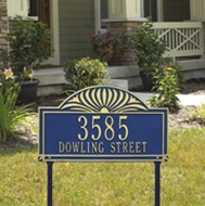 Whitehall Sunburst - Two Line Standard Lawn Address Sign
