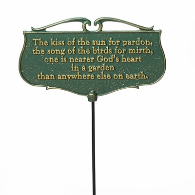 Whitehall The Kiss of the Sun Garden Sign (Green/Gold)