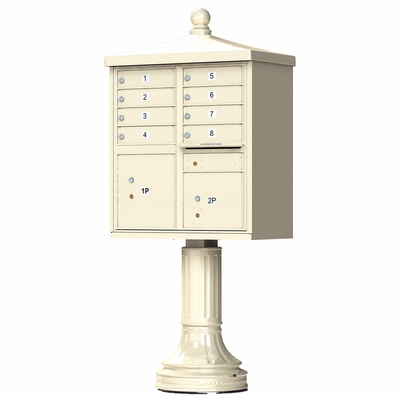 Sandstone Cluster Box Unit with Finial Cap and Traditional Pedestal accessories - 8 compartment