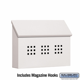 Salsbury 4615WHT Traditional Mailbox Decorative Horizontal Style White