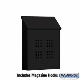 Salsbury 4625BLK Traditional Mailbox Decorative Vertical Style Black