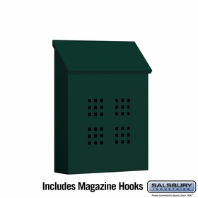 Salsbury 4625GRN Traditional Mailbox Decorative Vertical Style Green