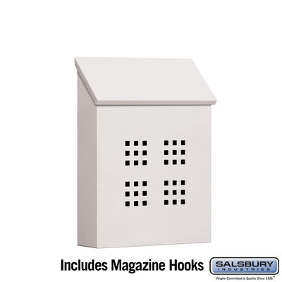 Salsbury 4625WHT Traditional Mailbox Decorative Vertical Style White