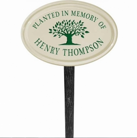 Whitehall Tree Memorial Ceramic Oval - Petite Lawn Address Sign - One Line